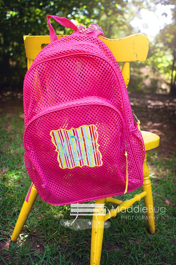Monogram Mesh Backpack Clear Mesh Bookbag By Madhouseboutique