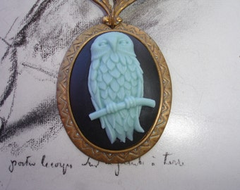 Blue Owl Cameo Pendant Lavalier Necklace with Amazonite and Freshwater Pearls, Vintage Accents, Statement Necklace