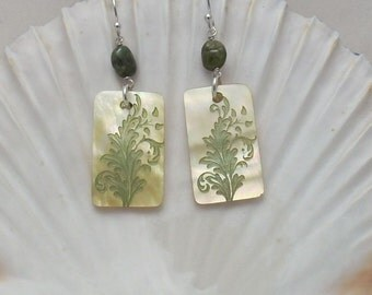 Earrings: Etched Mother of Pearl with Tourmaline