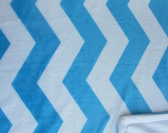 Minky Blanket Turquoise and White Chevron Print Minky with White Smooth Minky Backing - Perfect Size for a Baby or Toddler