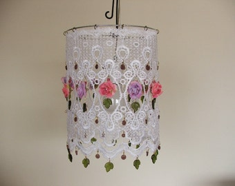 Anat Bon's White Shabby Chic Lighting: Chandelier with Glass Leaves and Tea Rose Flowers