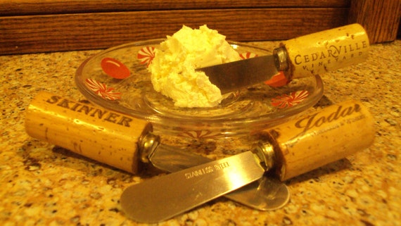 Repurposed canape cheese spreader recycled wine cork by for Canape spreaders