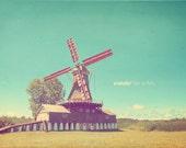 Red Windmill, Farmhouse Decor, Windmills Art, Windmill Photo, Windmill Gift, Windmill Art, Windmill Photography, Windmill Print