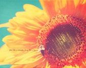 Yellow Sunflower, Blue Decor, Yellow Decor, Orange Decor, Bumblebee, Sunflower Photograph, Sunflower Print, Sunflower Art, Gift For Her