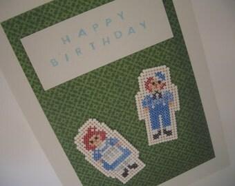 Cross Stitch Card Raggedy Ann & Andy Doll Birthday Card