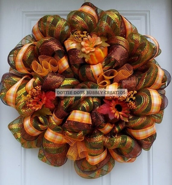Thanksgiving Harvest Time  Olive Green Striped Plaid Mesh Wreath