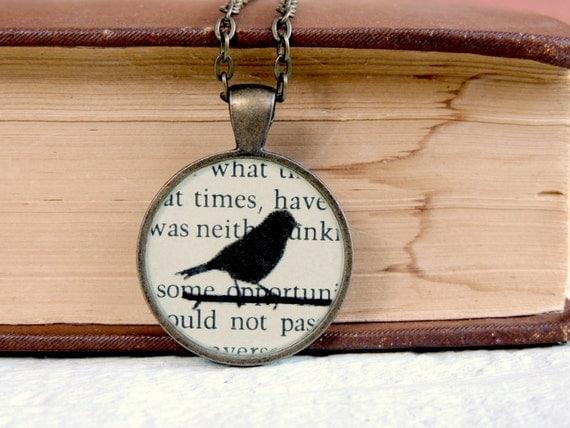 SALE-Bird Silhouette Book Art Resin Pendant Necklace-Pride and Prejudice