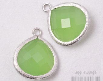 F102-02-MR-JD// Matt Original Rhodium Plated Framed Jade Glass Pendant, 2pcs