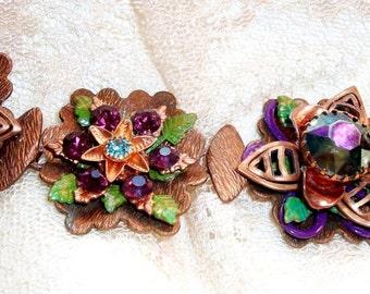 "Handmade ASSEMBLAGE BRACELET in Vintage Copper, Glass, Painted & Patina - ""Marie Antoinette"" - Layered Flowers, OOAK, Bohemian, Wearable Art"