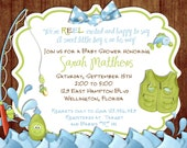 Rustic Fishing Baby Shower Invitation -Fish and Rod - Birthday Party Printed or Digital Invite