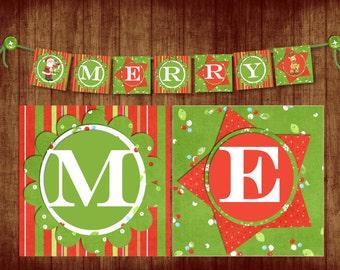 INSTANT DOWNLOAD Merry Christmas Banner digital PDF file, printable banner