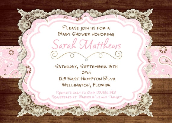 Baby shower invitation vintage diabetesmangfo items similar to lace rustic baby shower invitation pink vintage baby shower invitation filmwisefo Image collections