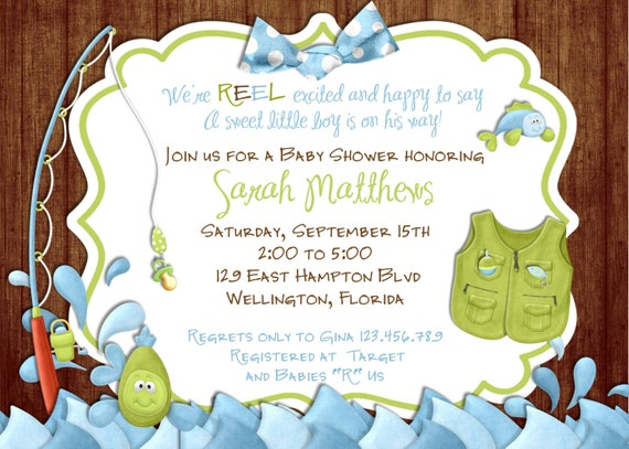 Fishing Baby Shower Invitation -Rustic Gone Fishing Printable Invite