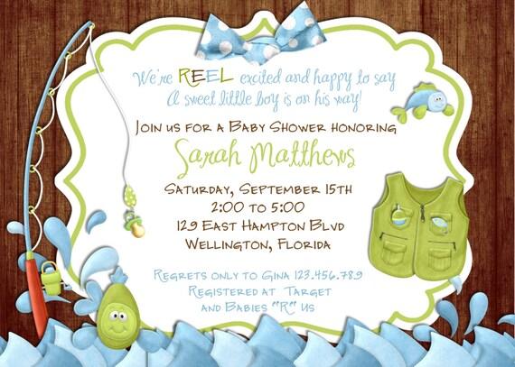Fishing Baby Shower Invitation -Rustic Gone Fishing Printable Invite