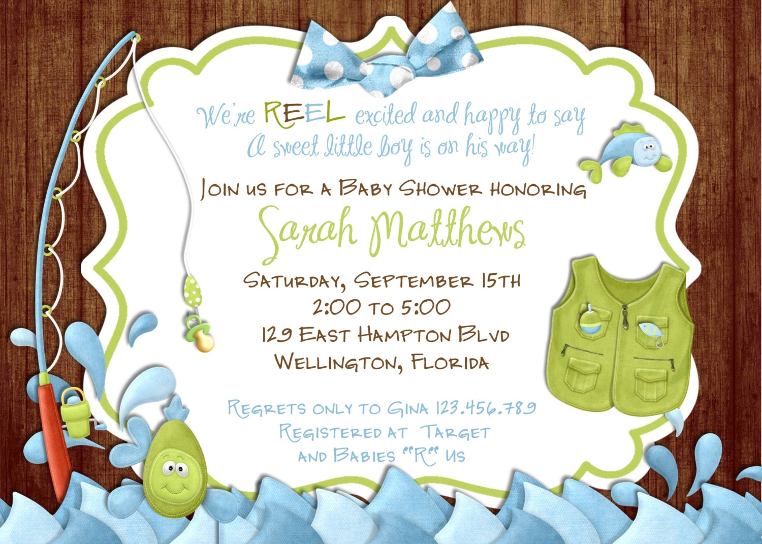 Fishing baby shower invitation rustic gone fishing printable for Fishing baby shower