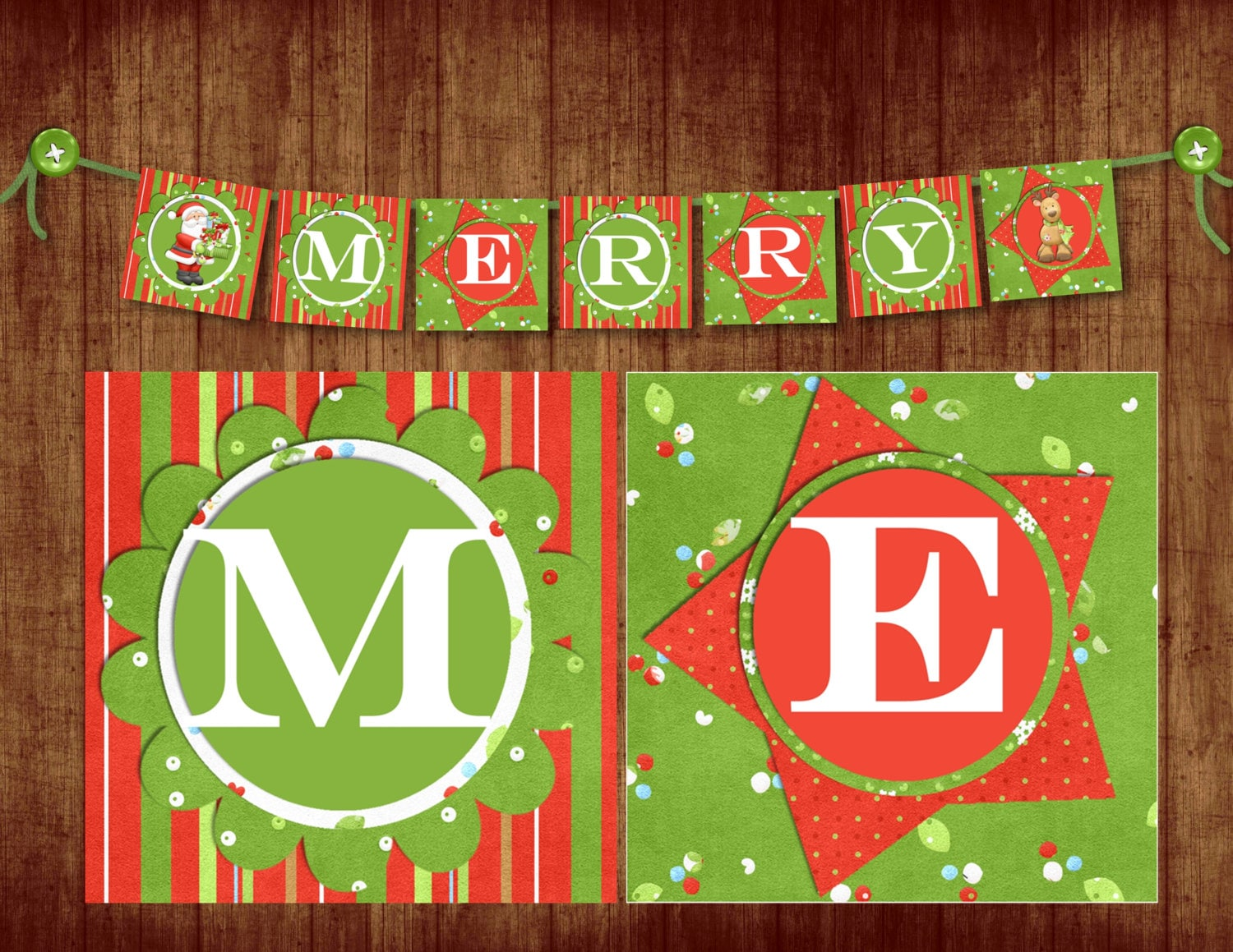 INSTANT DOWNLOAD Merry Christmas Banner digital PDF file