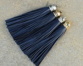 Navy Leather(Cowhide) TASSEL in 12mm Dome-shaped Gold, Silver, Antique Brass or Antique Silver Plated Cap- Pick your tassel cap