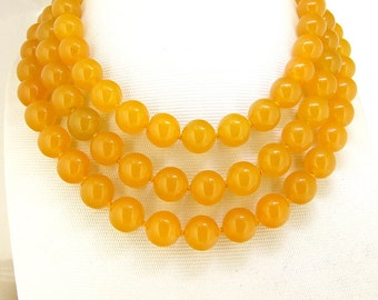 free shipping- 32/46 inches 10 mm yellow jade long necklace