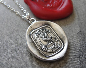 Wax Seal Necklace Wyvern - antique wax seal charm jewelry Latin motto I Have Resolved - Protection Valor necklace by RQP Studio