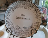 25th Anniversary Plate, Silver Leaves
