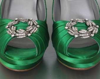 Green Wedding Shoes / High Heel Wedding Shoes / Bright Green Shoes / Platform Peeptoes / Silver Ring Shoes