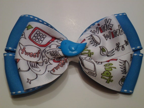 Trendy Twitter Revolution Social Media White and Turquoise Hair Bow - Tweet Chat Text Cell Phone