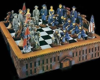 Civil War chess Set, Union and Confederate, General Lee,President Lincoln, rebels and yankees,North and South,ready to paint,ceramic u-paint