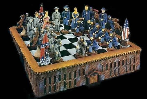 Figures only civil war chess set union and confederate - Ceramic chess sets for sale ...