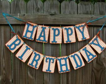 Happy Birthday Banner, Birthday Party Ideas, Orange Chevron and Teal Blue Banner