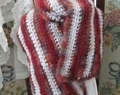 SALE  OOAK Handmade Warm and Wooly Ladies Scarf,  Crocheted Womens Winter Scarf, ECS,