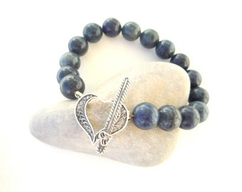 Gemstone bracelet, Dumortierite semiprecious stones  bracelet  with  sterling silver heart toggle clasp,Christmas gift