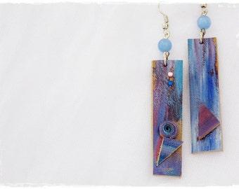 Ombre Leather Earrings, Long Aurora Earrings, Long Geometric Pastel Jewelry, Eco-Friendly Boho Earrings, Hand-Painted Distressed Earrings