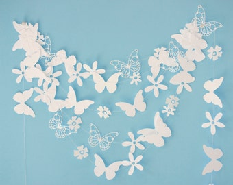 white paper garland with flowers and butterflies birthday party wedding easter bridal shower baby shower
