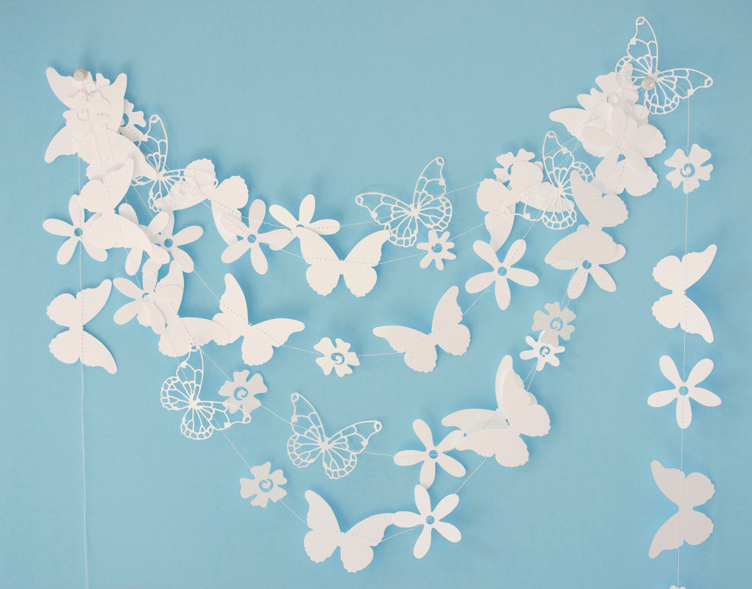 White paper garland with flowers and butterflies birthday for White paper butterflies