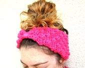Womens Turban Headband Crochet Polka Dot Retro Boho Hot Pink
