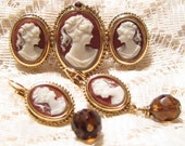 Vintage Triple Cameo Brooch with Cameo Earrings Set by 1928