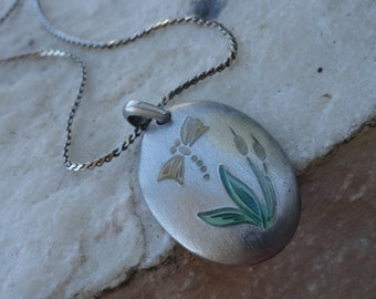Vintage Painted Pewter Pendant on a Silver Chain