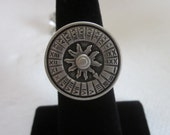 Sundial Pewter Button Silver Ring, Wire Wrapped