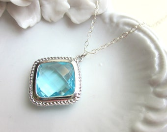 Aquamarine Necklace Silver Plated Aqua Large Diamond Pendant - Sterling Silver Chain - Bridesmaid Necklace