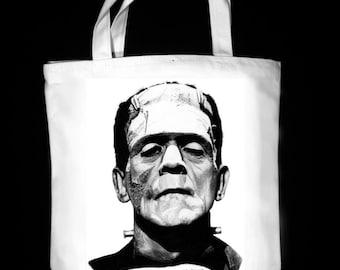 "Frankenstein's Monster 13"" x 13"" CanvasTote Bag - Original Graphite Portrait"