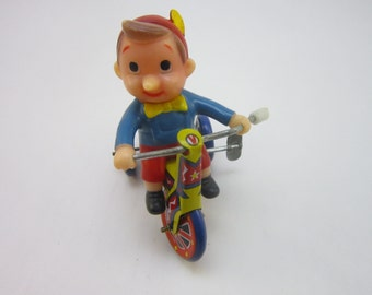 """Vintage Tin Litho Tricycle w Celluloid Boy Wind Up Toy MTU """"made in Ko.."""