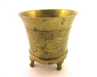 Vintage Chinese Floral Engraved Brass Incense Burner 5 3/8 oz Marked China