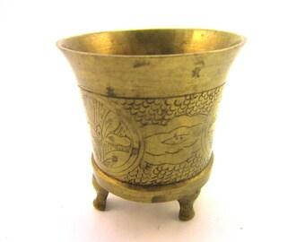 Vintage Chinese Floral Engraved Brass Incense Burner Marked China