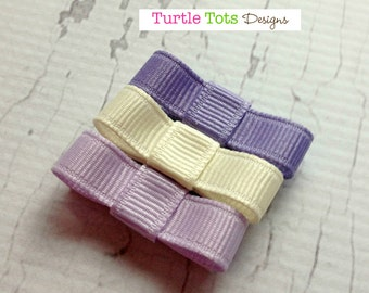 Baby Hair Clips - Purple Lilac, Lavender, Ivory - Tuxedo Bow Snap Clip - No Slip Grip - Baby, Girl, Toddler, Children