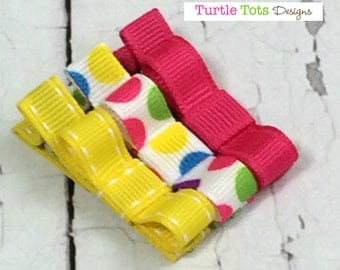 Baby Hair Clip- Alligator Clip or Snap Clip - Polka Dots, Pink and Yellow and - Non Slip Grip -Girls, Babies, Toddlers