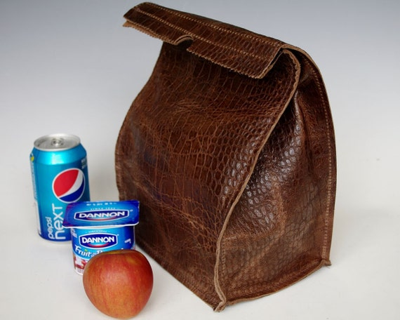 Leather Lunch Bag - Large -distressed crocodile embossed cowhide- It's fun, it's leather, it's a great conversation starter.
