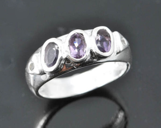 Amethyst ring, february, birthstone, gemstone, sterling silver, stone
