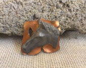 Very Unusual Raised 3D Horse Head On Copper Backing