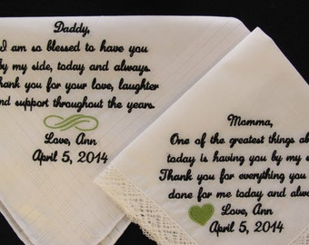 Wedding Handkerchiefs for Mother of the Bride and Father of the Bride