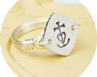 Camargue Cross Ring- Hand Stamped Aluminum Heart Anchor Cross and Sterling Silver Filled Ring-Any Size 4, 5, 6, 7, 8, 9, 10, 11, 12, 13, 14